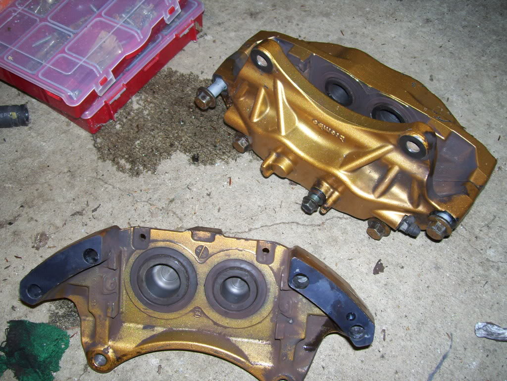 Brembo Caliper: Separating the Brembo Calipers and getting ready for the rebuild.