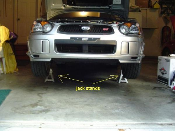 Stainless Steel Brake Lines: Get the front of your Subaru Impreza up on jack stands.
