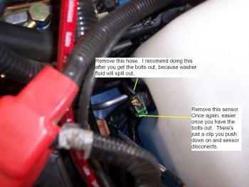 Spark Plug removal step 1.) Windshield washer reservoir.