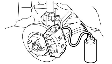 Brake Fluid Flush Subaru: Install one end of a vinyl tube onto the air bleeder and insert the other end of the tube into a container to collect the brake fluid.