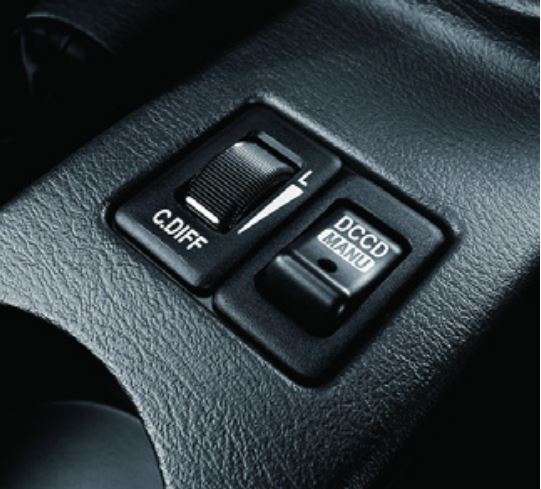 AWD: The Impreza WRX STI uses Driver Controlled Center Differential (DCCD) to switch the All-Wheel Drive system between automatic and manual modes. Seen here, the controls allow the driver to select.