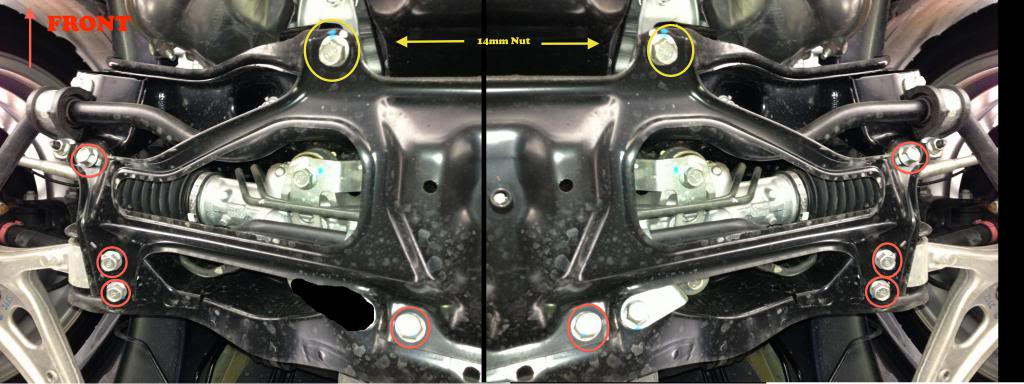 Steering Rack Bushings Install on a 08+ STi: The bolts circled in yellow are secured by nuts on the topside so you will need the 14mm wench as well.