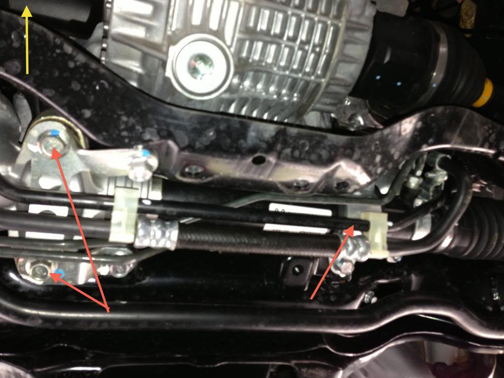 Steering Rack Bushings Install on a 08+ STi: Note the location of the 3 bushings denoted by the red arrows.