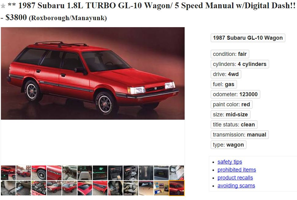 FOR SALE: A very rare 1987 Subaru GL-10 4WD TURBO Wagon w/5 Speed Manual & Digital Dashboard.