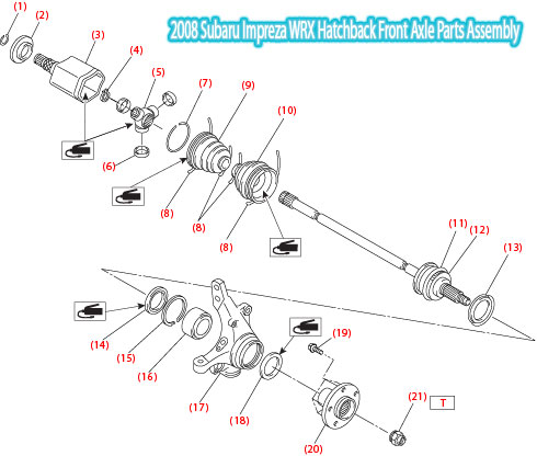 2008-Subaru-Impreza-WRX-Hatchback-Front-Axle-Parts-Assembly