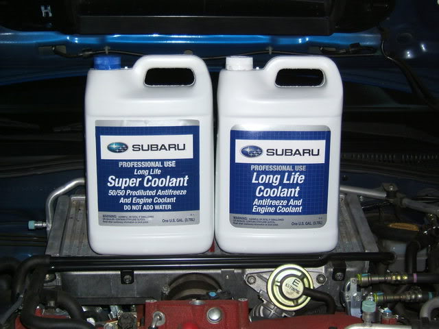 Subaru Genuine Coolant. To the left Super Coolant and to the right long life coolant.