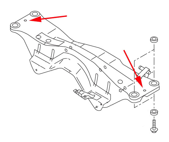 Subframe Lockbolt install for Subaru WRX/STi: Where these two red arrows point to are where the lockout bolts will be installed.