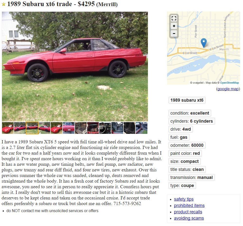 Subaru XT6 for sale.