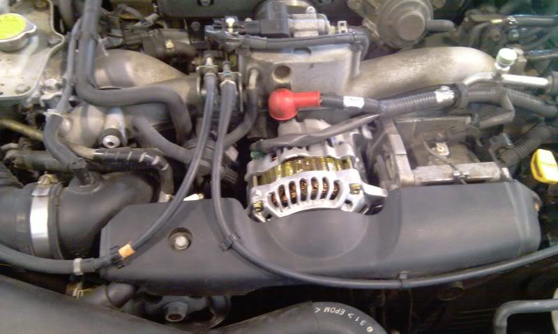 Alternator Replacement Subaru WRX/STi: The Alternator cover needs to be removed.