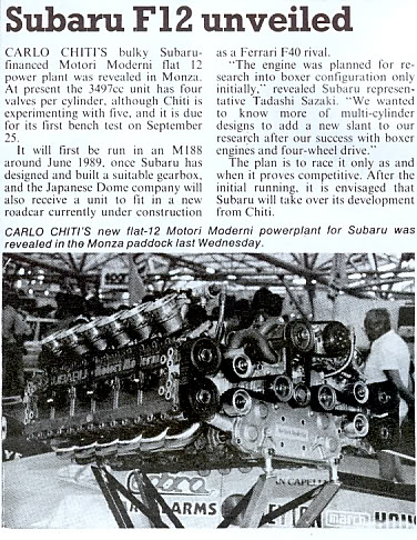 """Formula 1 Subaru Flat-12: In late 1988, the Japanese commissioned Chiti to design a new Formula One engine with a """"flat"""" layout, as used in their road cars."""